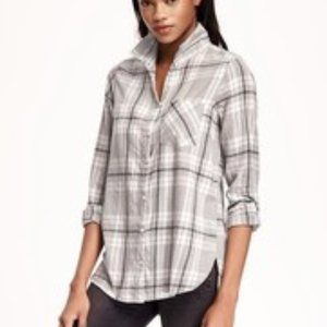 OLD NAVY Classic Shirt Grey Plaid Flannel M Women